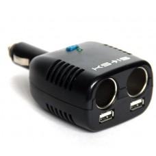 Автомобильный раз-тель прикуривателя на 2 гнезда c USBx2 ЗУ (KS-185)